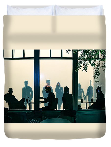 Duvet Cover featuring the photograph Blue Cafe by Bobby Villapando