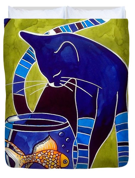 Blue Cat With Goldfish Duvet Cover