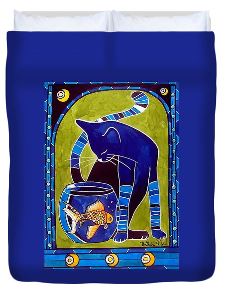 Duvet Cover featuring the painting Blue Cat With Goldfish by Dora Hathazi Mendes