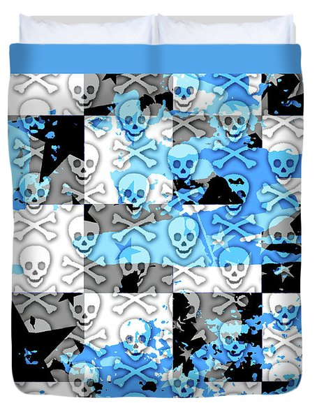 Blue Checker Skull Splatter Duvet Cover by Roseanne Jones