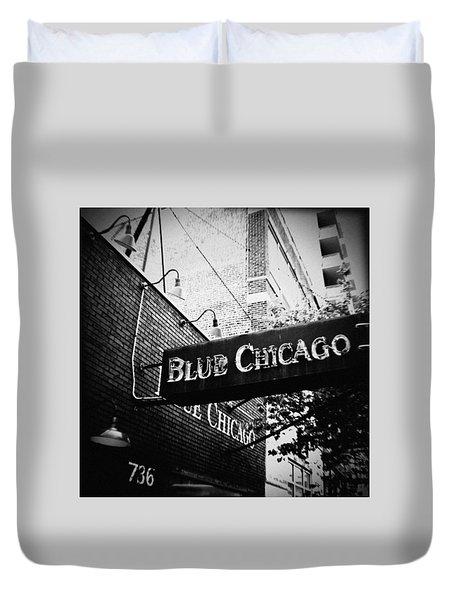 Blue Chicago Nightclub Duvet Cover