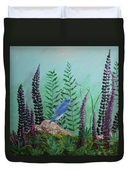 Blue Chickadee Standing On A Rock 1 Duvet Cover