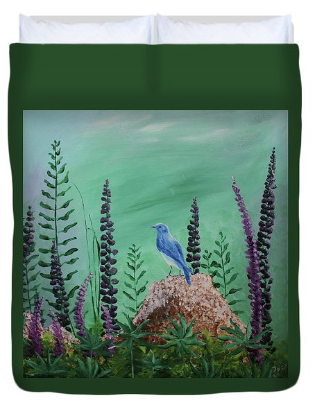 Blue Chickadee Standing On A Rock 2 Duvet Cover
