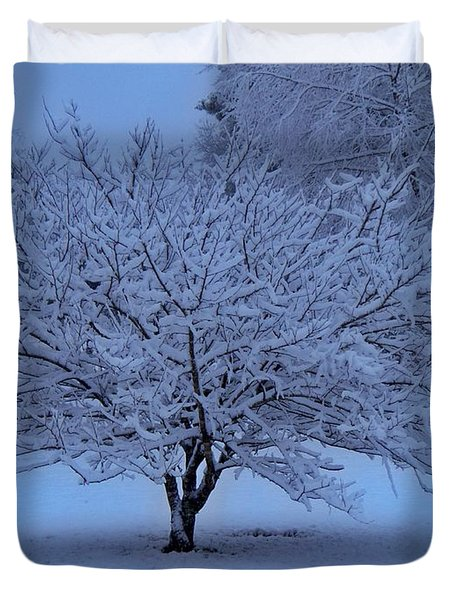 Blue Christmas Duvet Cover by Betty Northcutt