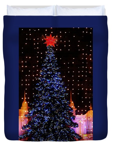 Blue Christmas Tree Duvet Cover