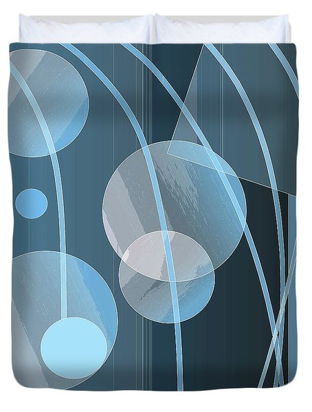 Blue Circles And Lines Duvet Cover