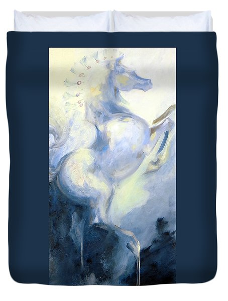 Duvet Cover featuring the painting Blue Circus Pony 1 by Dina Dargo
