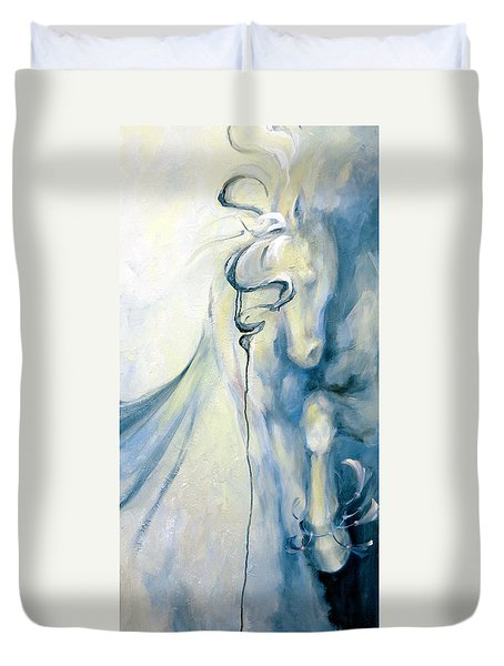 Duvet Cover featuring the painting Blue Circus Pony 2 by Dina Dargo