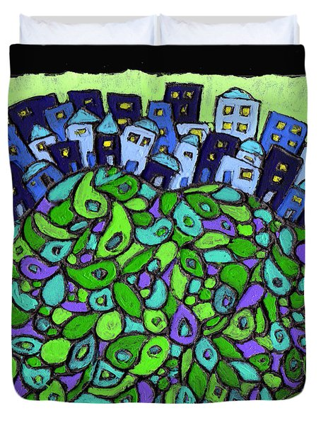 Blue City On A Hill Duvet Cover by Wayne Potrafka