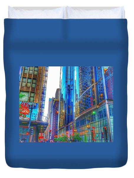 Duvet Cover featuring the photograph Blue Cityscape by Marianne Dow