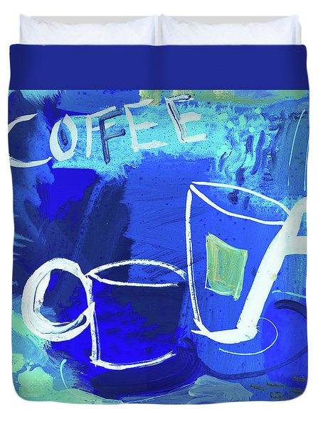 Blue Coffee Duvet Cover