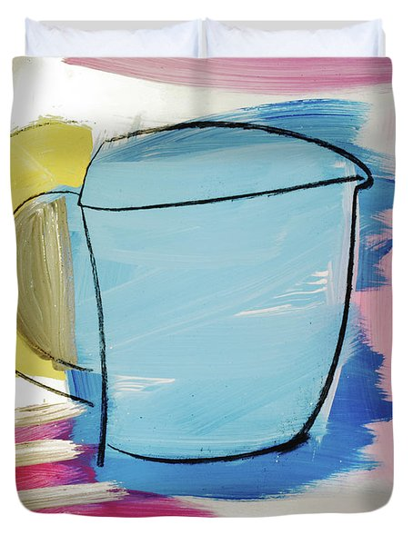Blue Coffee Mug Duvet Cover by Amara Dacer