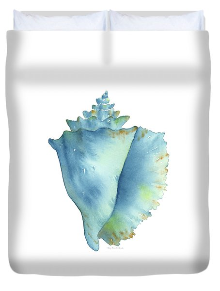 Blue Conch Shell Duvet Cover