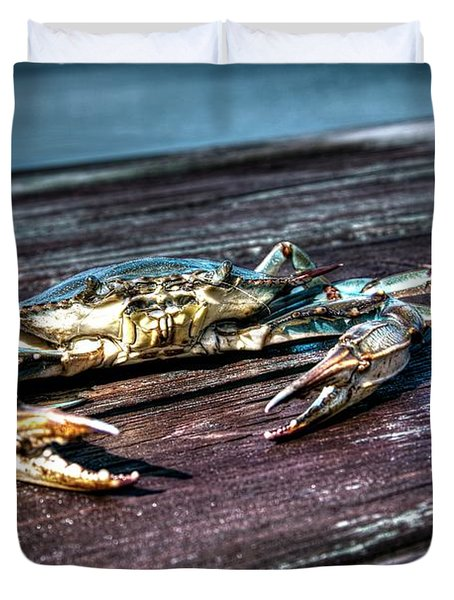 Blue Crab - Above View Duvet Cover