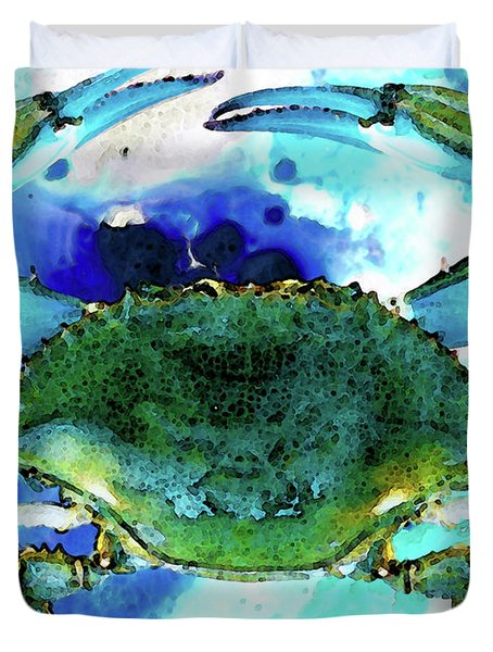 Blue Crab - Abstract Seafood Painting Duvet Cover