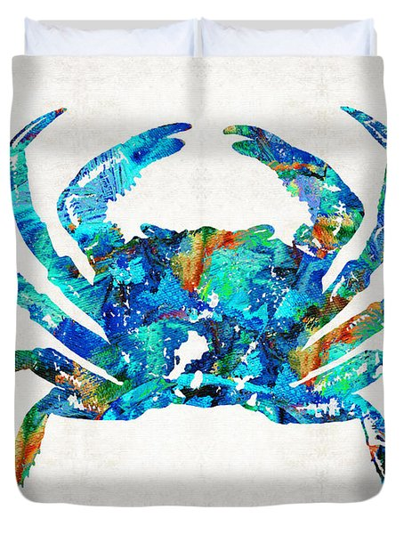 Blue Crab Art By Sharon Cummings Duvet Cover