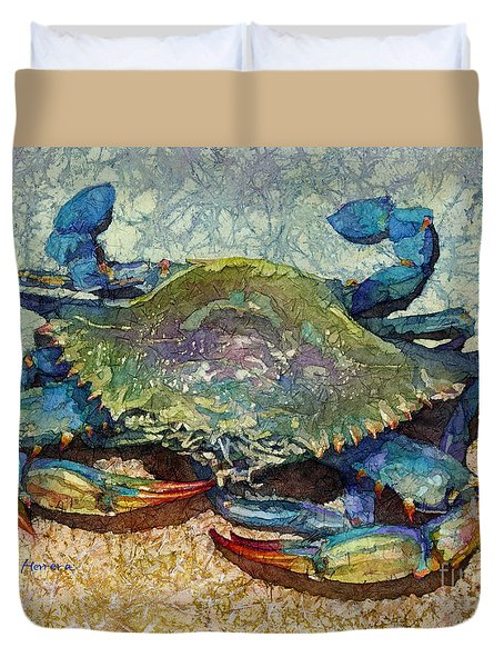 Duvet Cover featuring the painting Blue Crab by Hailey E Herrera