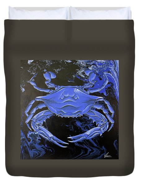Duvet Cover featuring the painting Blue Crab by William Love