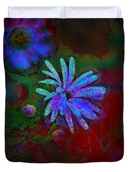 Duvet Cover featuring the photograph Blue Daisy by Lori Seaman