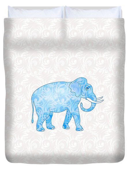 Blue Damask Elephant Duvet Cover by Antique Images