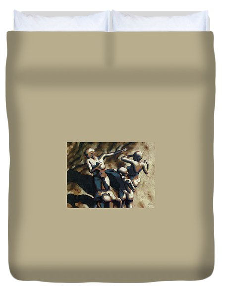 Blue Dancers Duvet Cover by Leo Mazzeo