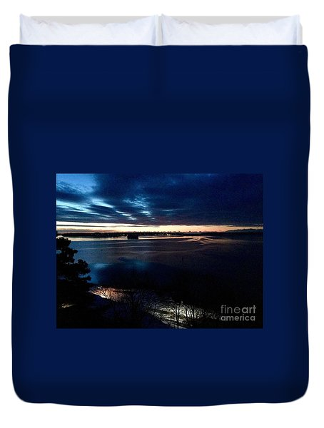 Blue Dawn On Casco Bay Duvet Cover