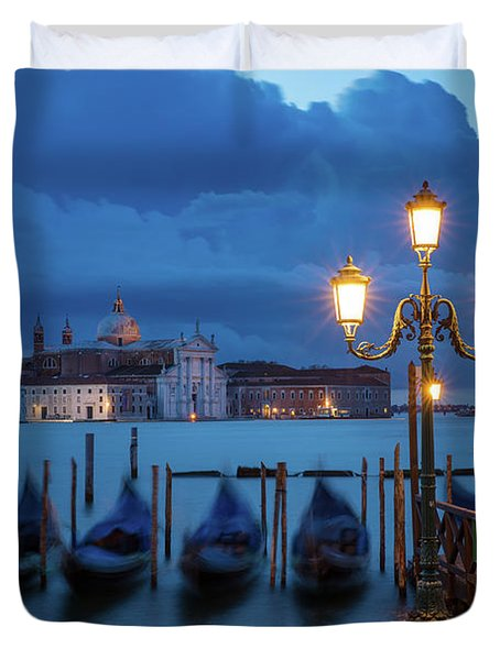 Duvet Cover featuring the photograph Blue Dawn Over Venice by Brian Jannsen