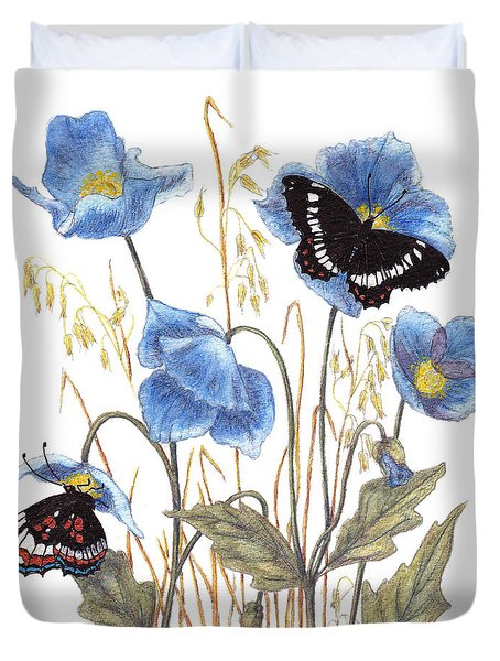 Blue-day Butterfly Duvet Cover by Stanza Widen