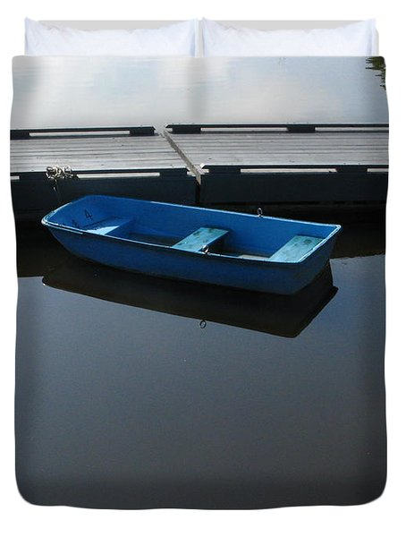 Blue Dinghy Quiet Waters Duvet Cover