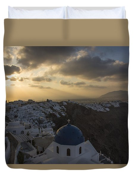 Duvet Cover featuring the tapestry - textile Blue Dome - Santorini by Kathy Adams Clark