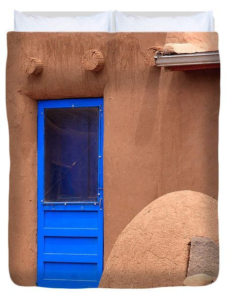Blue Door And Adobe Duvet Cover