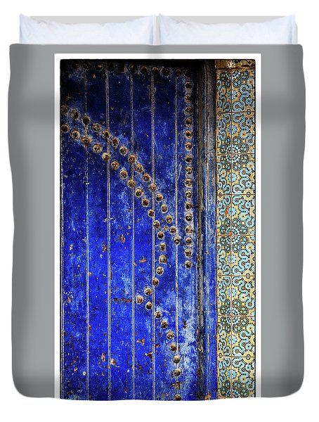 Duvet Cover featuring the photograph Blue Door In Marrakech by Marion McCristall