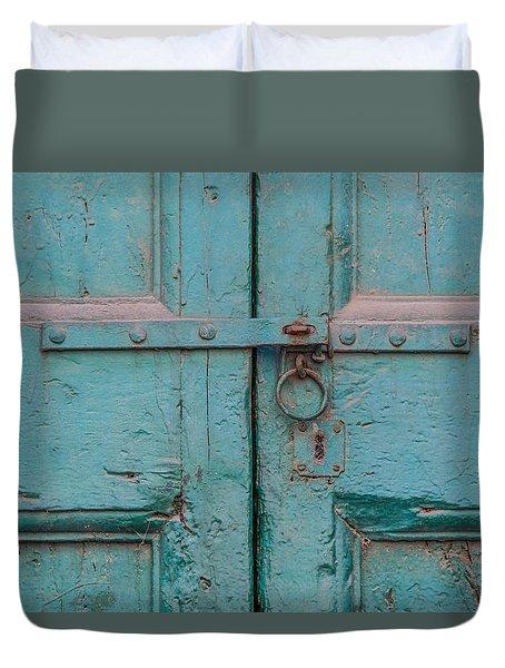 Blue Door Of Cortona Duvet Cover