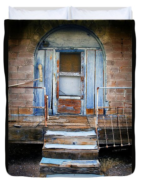 Duvet Cover featuring the photograph Blue Door Of Riley by Craig J Satterlee
