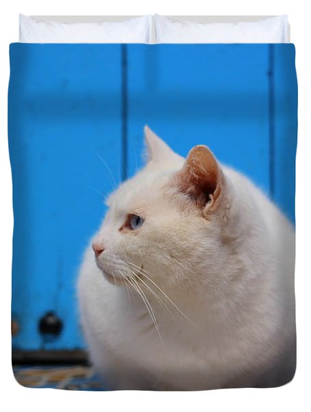 Duvet Cover featuring the photograph Blue Door White Cat by Ramona Johnston