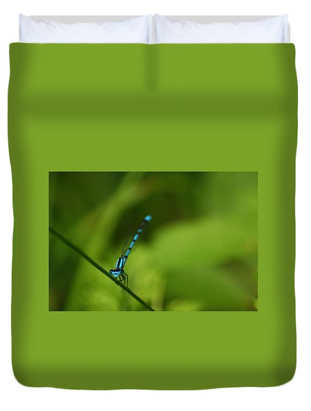 Duvet Cover featuring the photograph Blue Dragonfly by Ramona Whiteaker