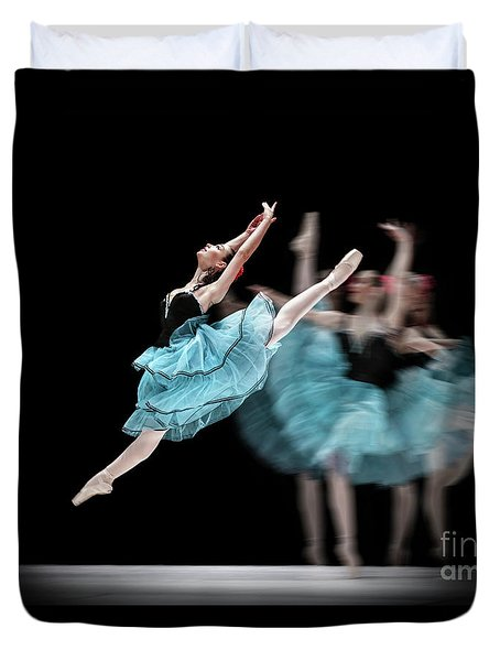 Duvet Cover featuring the photograph Blue Dress Dance by Dimitar Hristov