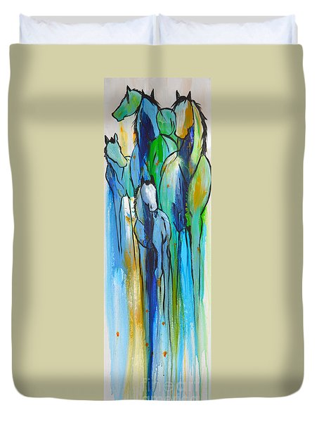 Duvet Cover featuring the painting Blue Drip 2 by Cher Devereaux