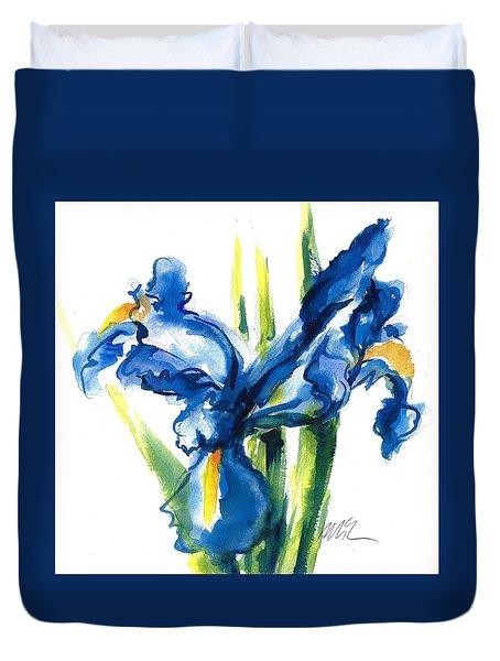Blue Dutch Iris Flower Painting Duvet Cover