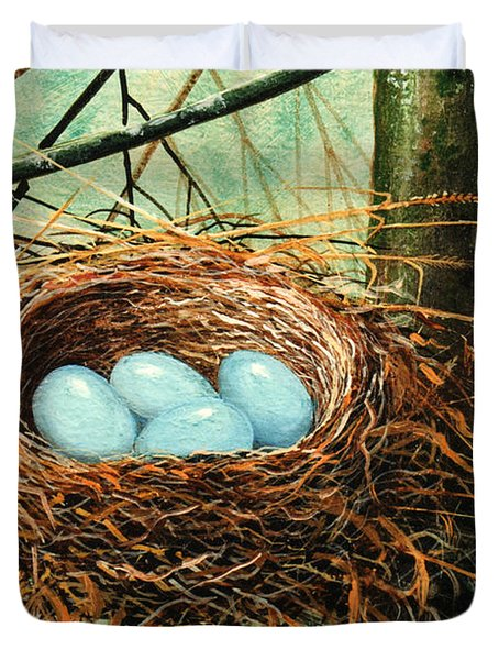 Blue Eggs In Nest Duvet Cover