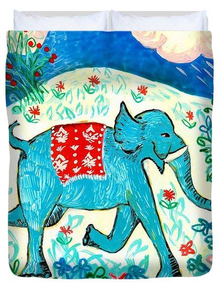 Blue Elephant Facing Right Duvet Cover by Sushila Burgess