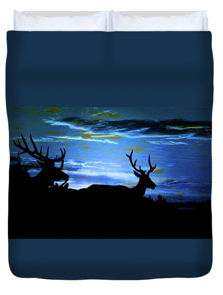 Duvet Cover featuring the mixed media Blue Elk Dreamscape by Mike Breau