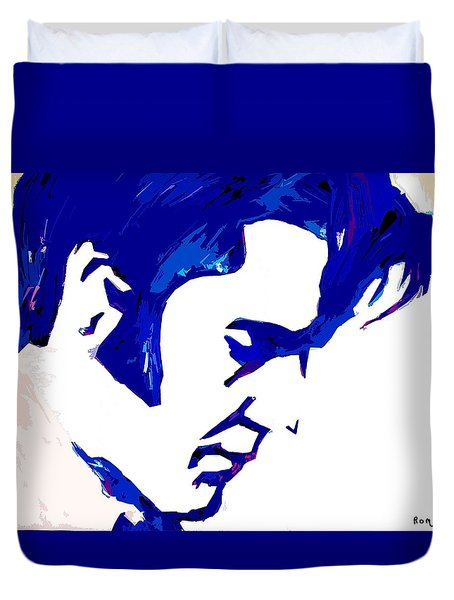Duvet Cover featuring the painting Blue Elvis 1 by Robert Margetts