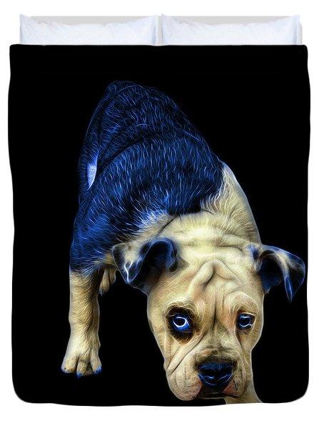 Blue English Bulldog Dog Art - 1368 - Bb Duvet Cover