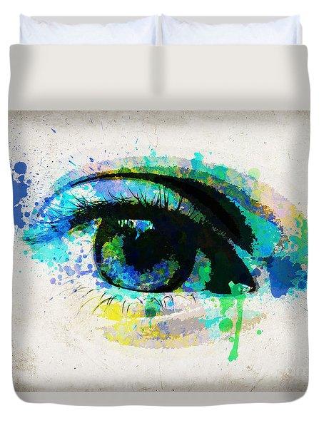 Blue Eye Watercolor Duvet Cover