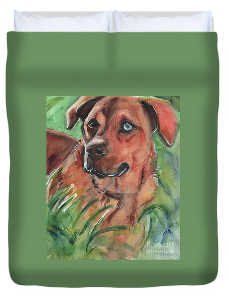 Blue Eyed Dog Duvet Cover