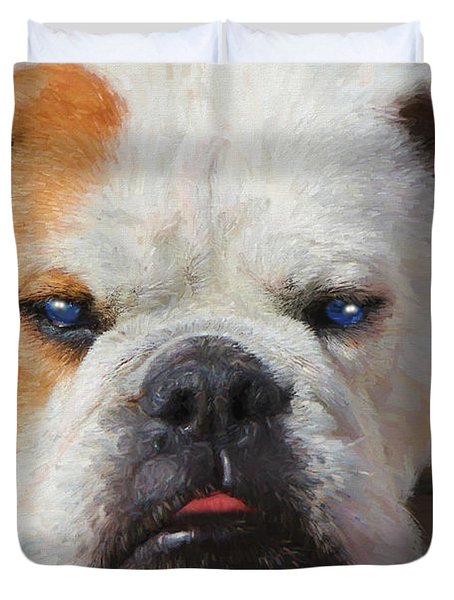 Duvet Cover featuring the painting Blue-eyed English Bulldog - Painting by Ericamaxine Price
