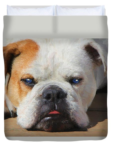 Blue-eyed English Bulldog - Painting Duvet Cover