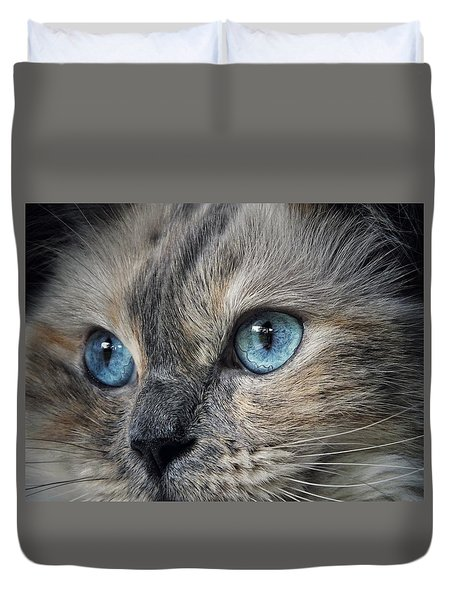 Duvet Cover featuring the photograph Blue Eyed Girl by Karen Stahlros