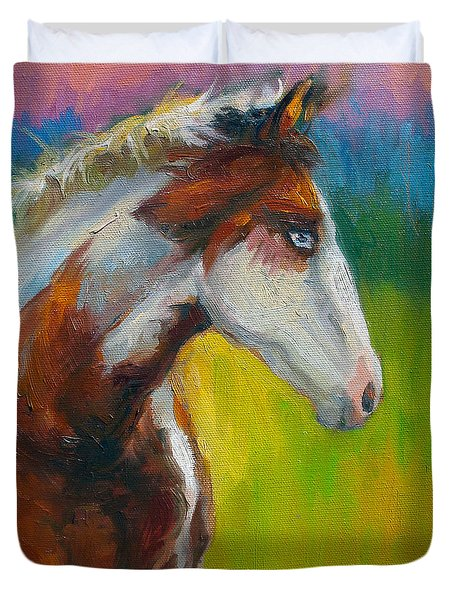 Blue-eyed Paint Horse Oil Painting Print Duvet Cover by Svetlana Novikova